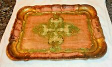 Vintage Green & Pink Square Wooden Tole Tray