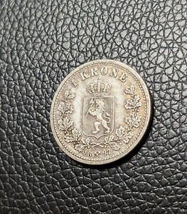 1897 Norway Silver 1 Krone Scarce Type Light Gold Toning