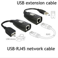 USB Extension Ethernet RJ45 Cat5e/6 Cable LAN Adapter Extender Over Repeater  Gh