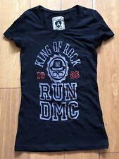 AMPLIFIED KING OF ROCK RUN DMC 1985 LADIES T SHIRT SKINNY FIT X SMALL NEW