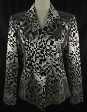 TUZZI Print Blazer, Jacke Gr. DE 40 Jacket schwarz silber gemustert Neuwertig !