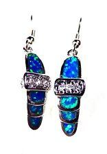 """Sterling 925 Silver SF Hook Earrings Blue Lab Fire Opal & White Topaz 1 1/2"""" D"""