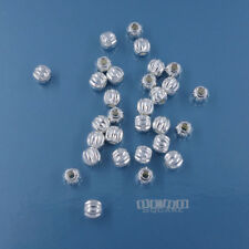 30 PC Sterling Silver Small Pumpkin Round Bead Spacer 3mm #33832