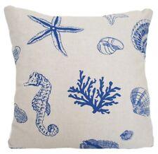Blue Grey Corals Sea Horses Shells Cushion Cover Printed Cotton Fabric Square