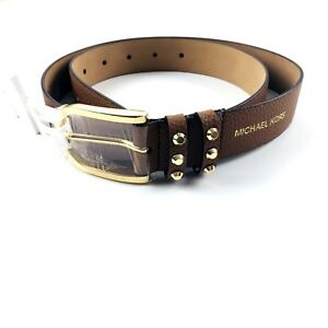 Michael Kors Women Luggage Brown Gold MK Buckle Studded Leather Belt Size M NEW