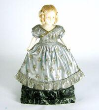 Jugendstil Metall Figur mit Kopf & Armen aus Bein Marmorsockel Art Nouveau 21cm