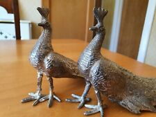 Pair of Vintage Brass Decorative Metal Peacock Birds With Detailed Features.