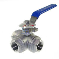 "3/8"" NPT Stainless Steel 304 Ball Valve Female 3 Way L Port Water Oil"