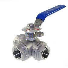 "G1"" Stainless Steel 304 Ball Valve Female 3 Way T Port Water Oil"