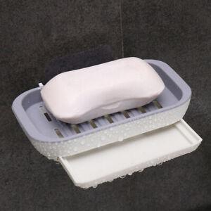 Drain Soap Box Holder Strong Stick Suction Rack Dish Bathroom Storage Case Tray