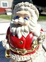 OLD Vintage Spaghetti Trim Santa Claus Bank RARE BLUE EYES Japan figurine Statue