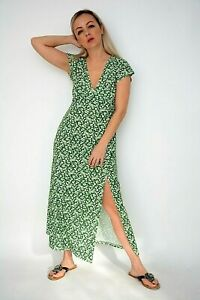 New Womens Ex Topshop Green&White Ditsy Floral Print Jersey Midi Dress Size 4-14