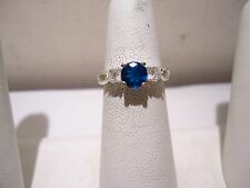 AVON STERLING SILVER ADJUSTABLE RING BLUE CLEAR GLASS BEADS SIZE 6.0-6.5 SS