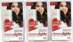 (Pack of 3) QB Labs Chromalights Metallic Red Temporary Hair Color Spray 1.5 Oz