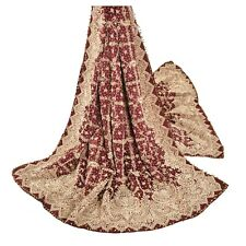 Sanskriti Vintage Ethnic Heavy Dupatta Pure Satin Silk Hand Beaded Zardozi Stole