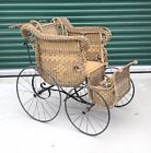 Antique Large Vintage Wicker Baby Buggy Stroller Carriage, Preowned