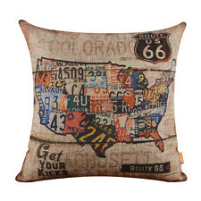American USA National Map Route 66 Mother Road Cushion Covers Throw Pillow Case