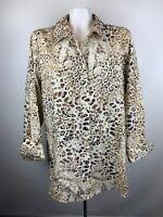 Chico's Womens Sz 3 Brown Animal Print Button Front Tunic Blouse Non Iron Cotton