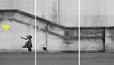 "Banksy Yellow Balloon Hope Graffiti Girl  Multi 3 x 10""x20"" Panel Canvas Picture"