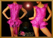 Showgirl Futuristic Fuchsia Glitter Sequin Lady Gaga Shortie One Piece Costume
