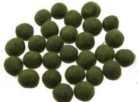 50 Perline Palle Di Feltro Naturale Ø=2.1 CM Nepal Verde BO4