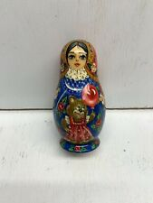 Very Nicely Lacquer Finished Russian 5 Piece Nesting Doll, Matryoshka 1999
