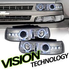 Chrome Halo Rims LED Projector Headlights K2 For 99-06 Silverado/Suburban/Tahoe