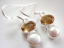 Cultured Pearl and Faceted Citrine 925 Sterling Silver Dangle Earrings
