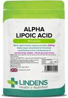 Lindens Alpha Lipoic Acid 250mg x 90 capsules High Quality Strong Potent