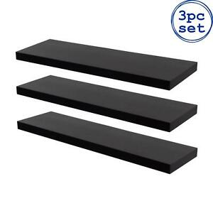 3x Wooden Floating Shelves Wooden Wall Mounted Storage Living Room 80cm Black