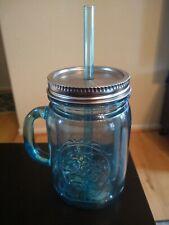 Mason Jar Drinking Cup Mug Blue With Straw New