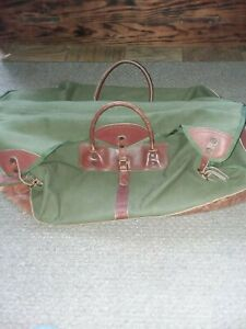 vintage Gokeys orvis green canvas/brown leather large duffle bag