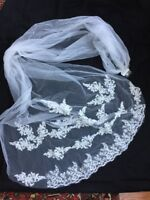 White Cathedral Length 8' Lace Edge Wedding Bridal Veil With Comb