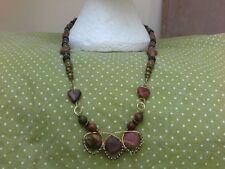 Brass Oval Gemstone Costume Necklaces & Pendants