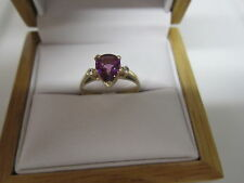 STUNNING ESTATE 14 KT GOLD 1.28 CTW. VIVID PURPLE GARNET & DIAMOND RING !!!!!