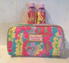 3pc NEW Estee Lauder Lilly Pulitzer jubilee collection cosmetic bag & bottles