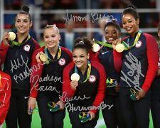 USA Gymnastics Gold Medal Rio Group Signed 8X10 Photo Rp Simone Biles Douglas