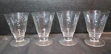 Footed Etched Floral Crystal Parfait Tumblers Dessert or Juice Glasses 4 Total