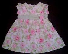 Hartstrings Baby Dress 18M Pink Roses Green Sash Cotton Fully Lined Slip Easter