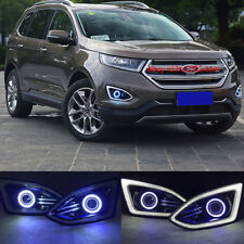 2x LED Daytime Running Fog Lights DRL+ Angel Eyes kit For Ford EDGE 2015 2017