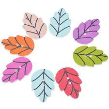 50PCs Wooden Buttons Leaf Shape Random Mix 2-hole Sewing Scrapbook Cardmaking