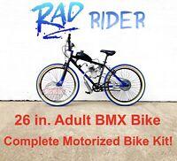 """**RAD Rider**  Motorized 66/80cc Engine & 26"""" Adult BMX Bicycle - Motor Bike Kit"""