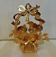 Danbury Mint 1992 Christmas Ornaments Cat and Dog in Basket