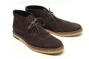 Fendi Roma Mens Chukka Boots 13 EE Brown Suede Plain Toe Low Ankle Desert Italy