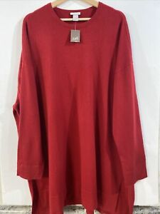 J JILL 100% Cashmere Red Tunic Sweater Long Sleeve Pullover Women's 4X Plus Size