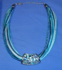 50cm Necklace high Polished Stainless Steel Blue Stone Cluster Geoffrey Beene