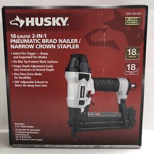 "Husky Pneumatic 2-in-1 18 Gauge 2"" Brad Nailer & 1/4"" Narrow Crown Stapler"