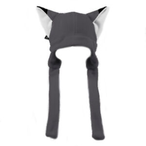 PAWSTAR Fox Ears hat - Fleece beanie Unisex Adult Gift Strap Gray [GY]1370