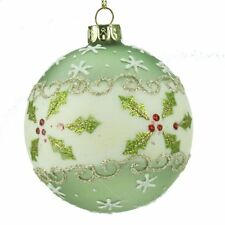 Gisela Graham Set 3 VERDE BIANCO vetro BAUBLES Natale Holly & Red Berry (8 cm)