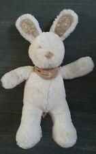 Doudou nicotoy lapin blanc velours marron bandana Broderies